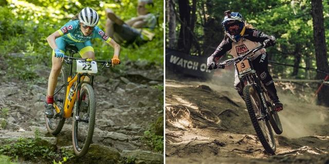 Bildmontage: Mona Mitterwallner und Valentina Höll fahren beide mit einem Mountainbike durch den Wald