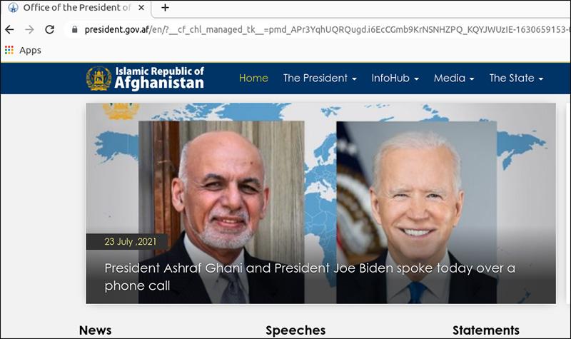Screenshot einer Website zeigt Porträts des ehemaligen afghanischen Präsidenten Ashraf Ghani und des US Präsidenten Joe Biden