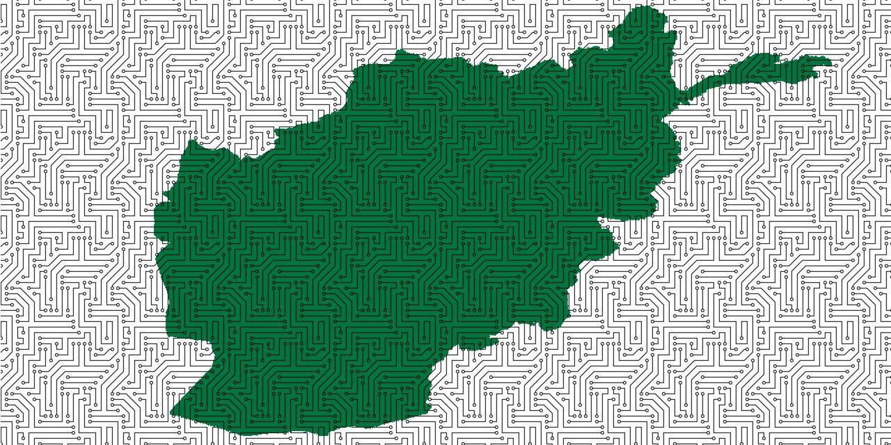 Karte von Afghanistan mit Netzwerk-Grafik darüber