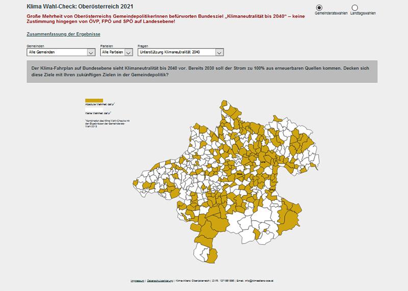 Screenshot Klimawahlen.at. Auf einer Karte von Oberösterreich sind alle Gemeinden eingezeichnet, die die Klimaneutralität bis 2040 unterstützen