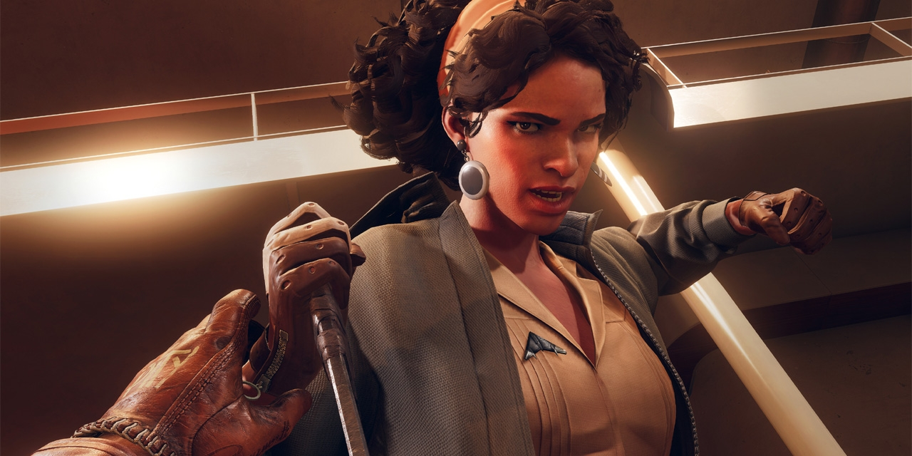 """Julianna aus dem Computerspiel """"Deathloop""""."""