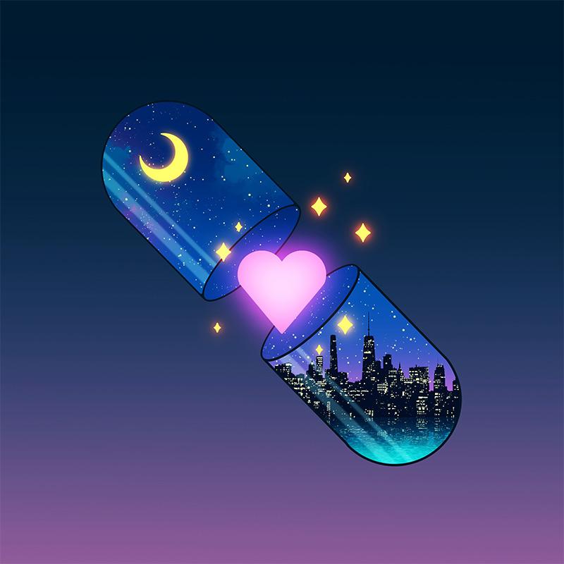 """Das Plattencover von """"Back In Love City"""" von The Vaccines zeigt eine Pillenkapsel, aus der ein Herz kommt"""