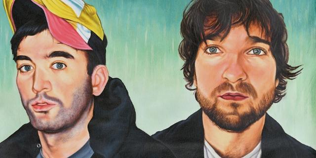 Ein gemaltes Portrait von Sufjan Stevens und Angelo De Augustine