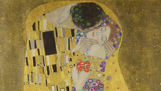 """Das Gemälde """"Der Kuss (Liebespaar)"""" von 1908/09 ist heute zweifellos Klimts bekanntestes Werk."""