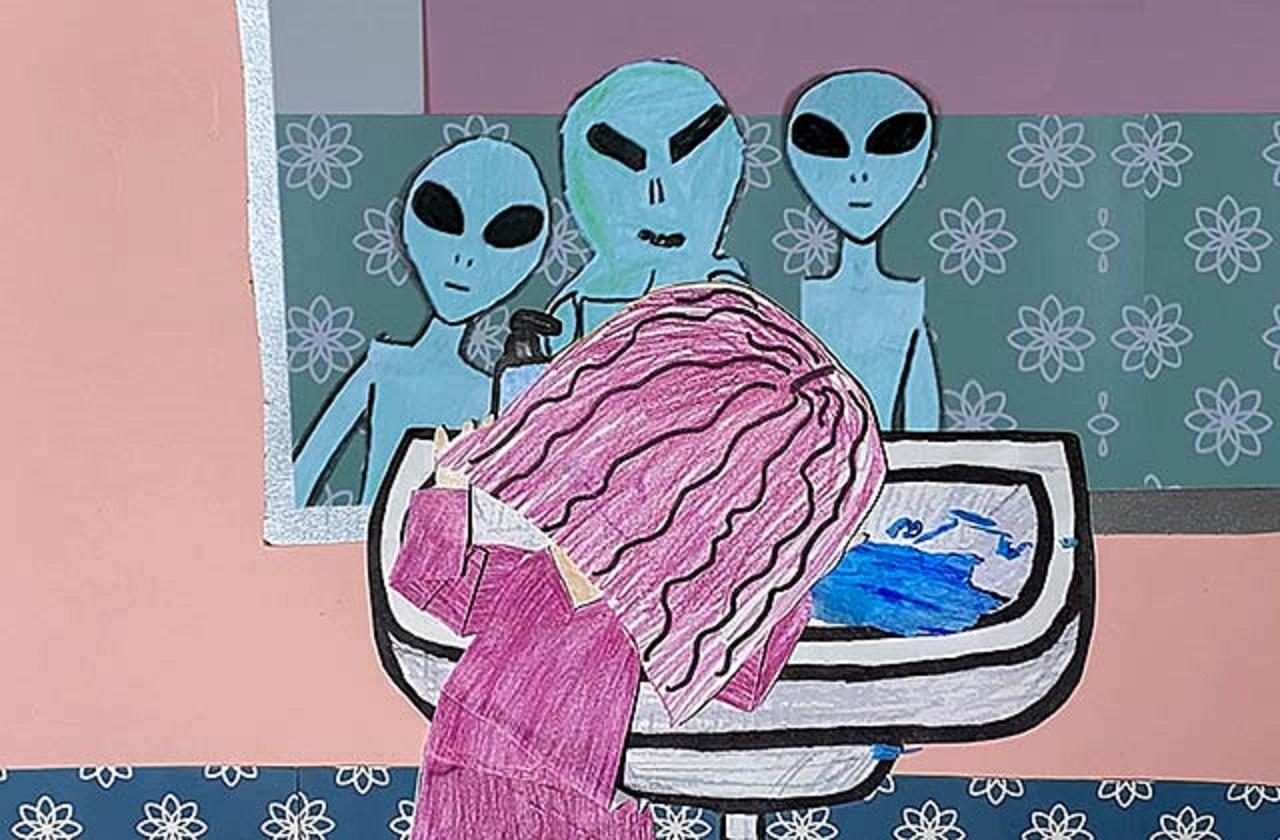 Eine Zeichnung aus einem Animationsfilm: Aliens schauen auf ein Mädchen.