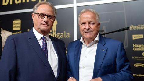 Der designierten ÖFB-Präsident Gerhard Milletich und der amtierende ÖFB-Präsident Leo Windtner