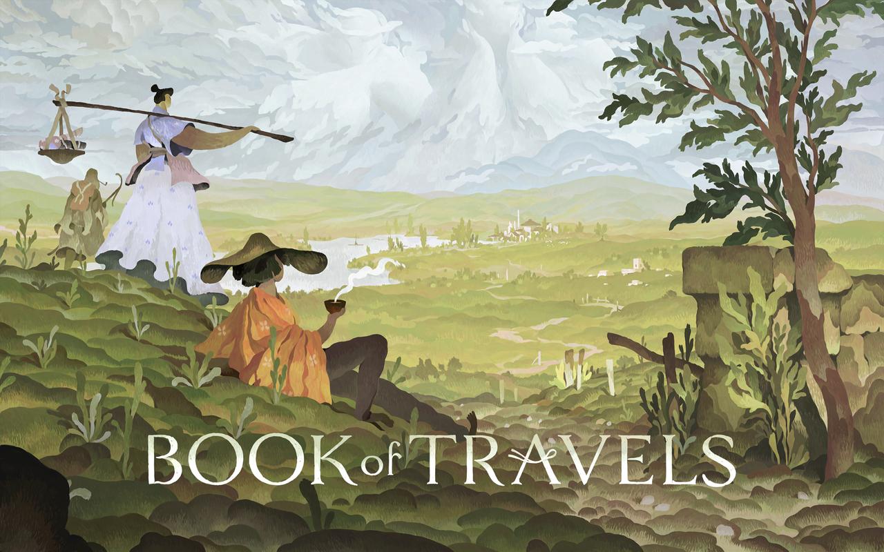 Coverbild Book of Travels mit Figur, die auf einer Wiese sitzt