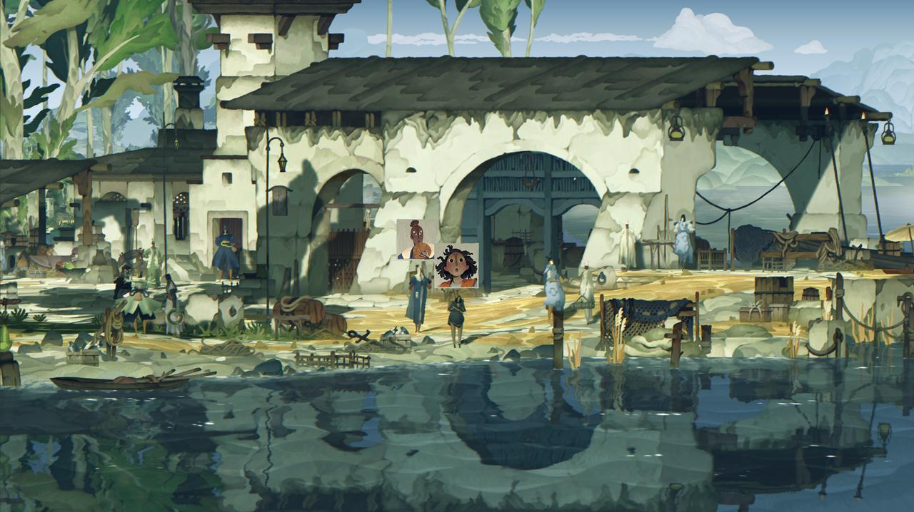 Screenshot aus dem Game, ein Haus, das sich im Wasser spiegelt