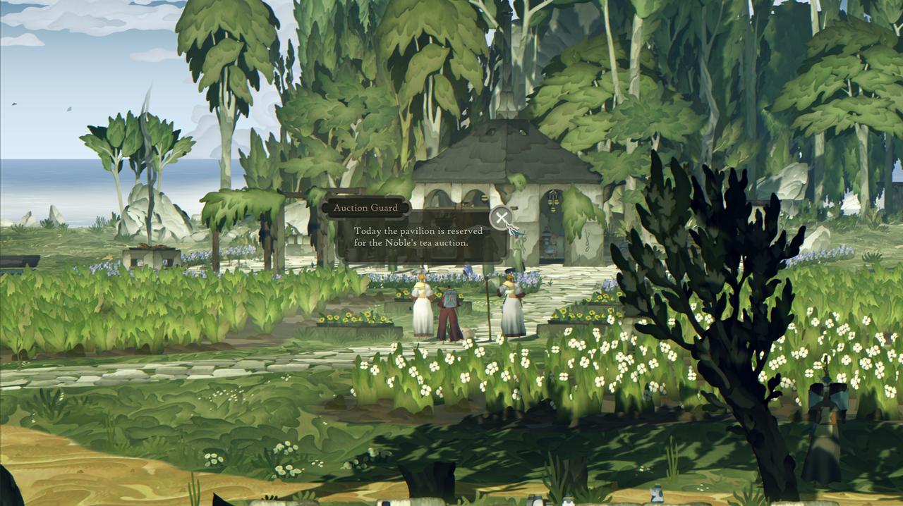 Screenshot aus Game, zwei Figuren unterhalten sich in der Natur