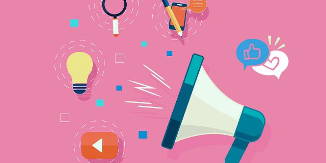 Megaphon vor pinkem Hintergrund, davor die Logos verschiedener Social Media